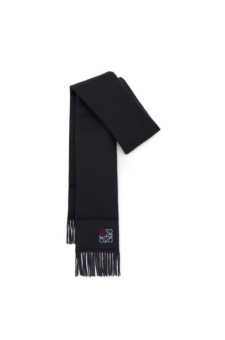LOEWE 17 x 190 cm padded anagram scarf in cashmere Navy Blue pdp_rd