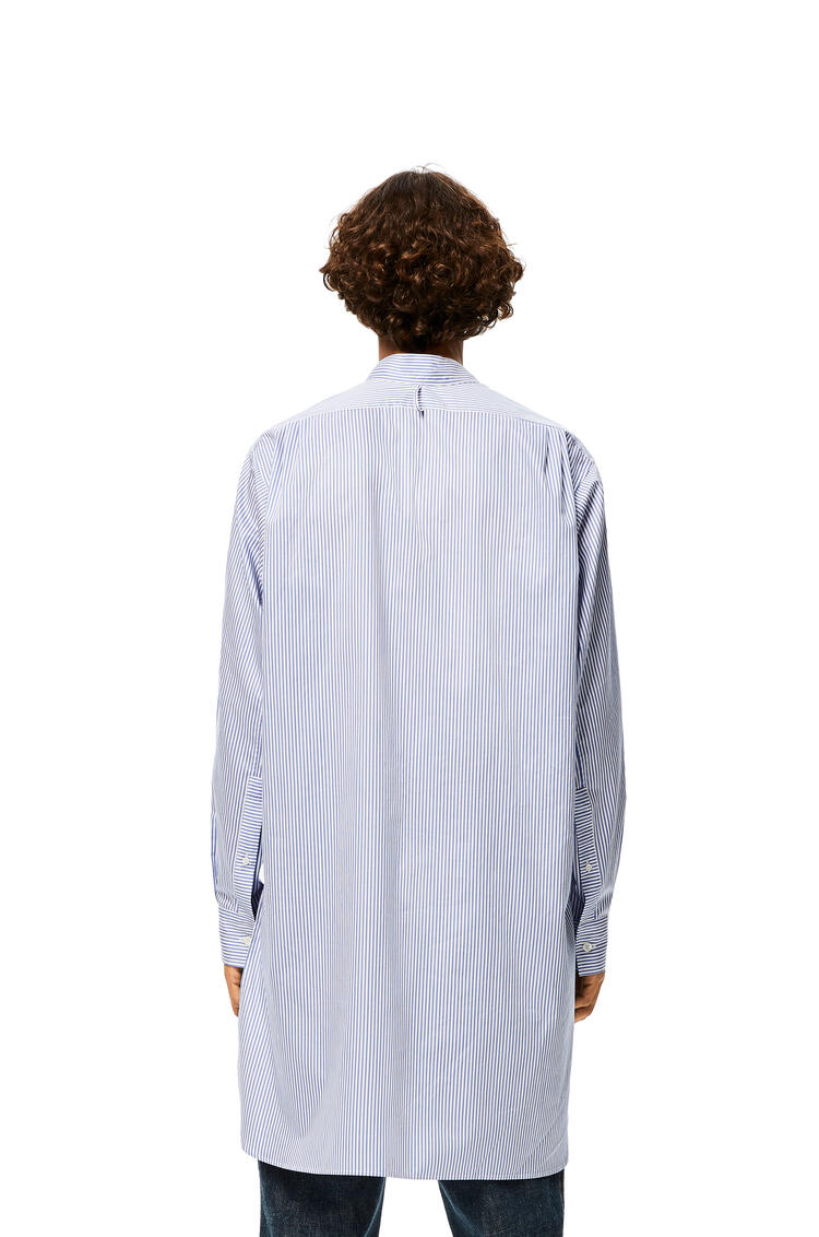 LOEWE Long asymmetric shirt in striped cotton White/Blue pdp_rd