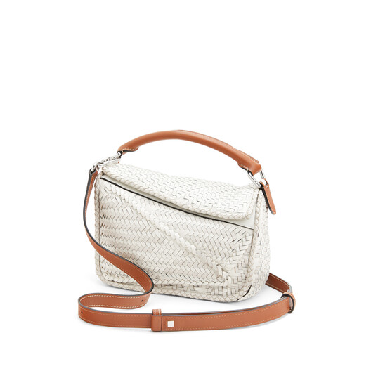 LOEWE Puzzle Woven Small Bag White front
