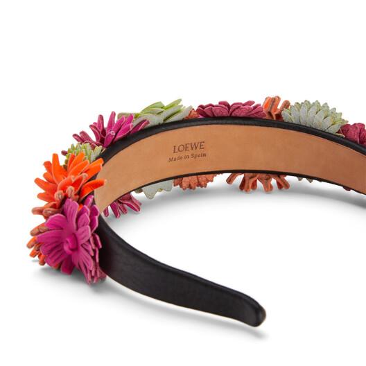 LOEWE Flowers Headband In Classic Calfskin Neon Orange/Neon Yellow front