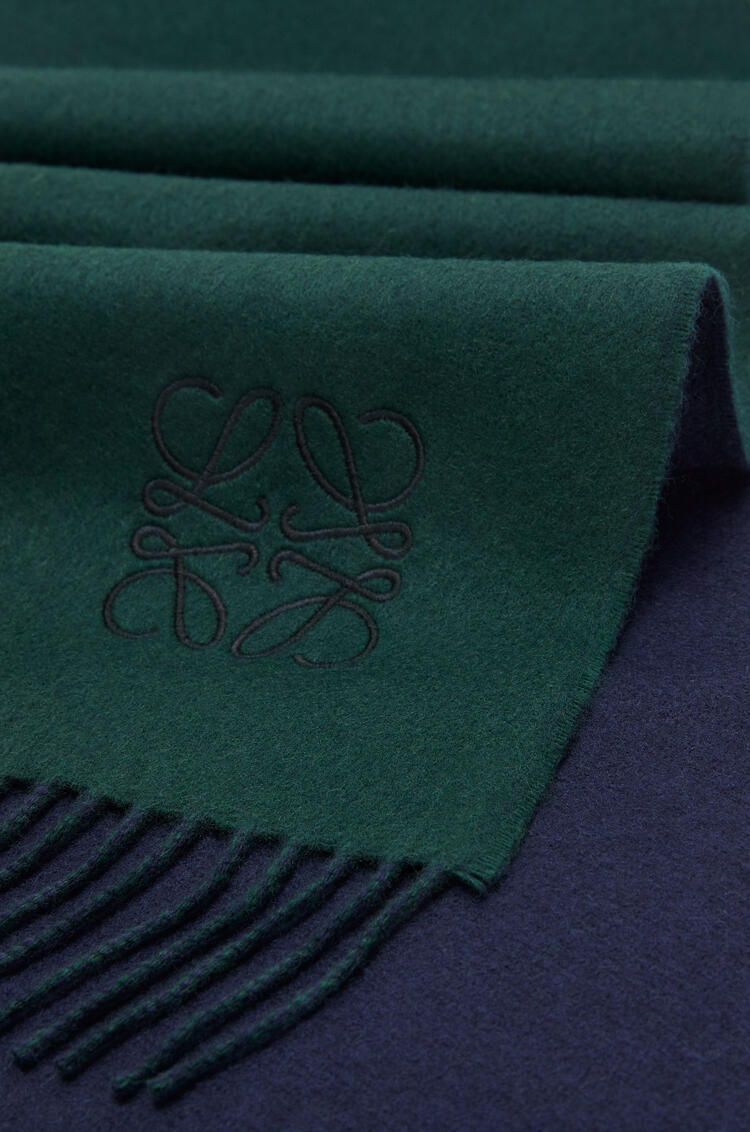 LOEWE Window scarf in wool and cashmere Navy/Dark Green pdp_rd
