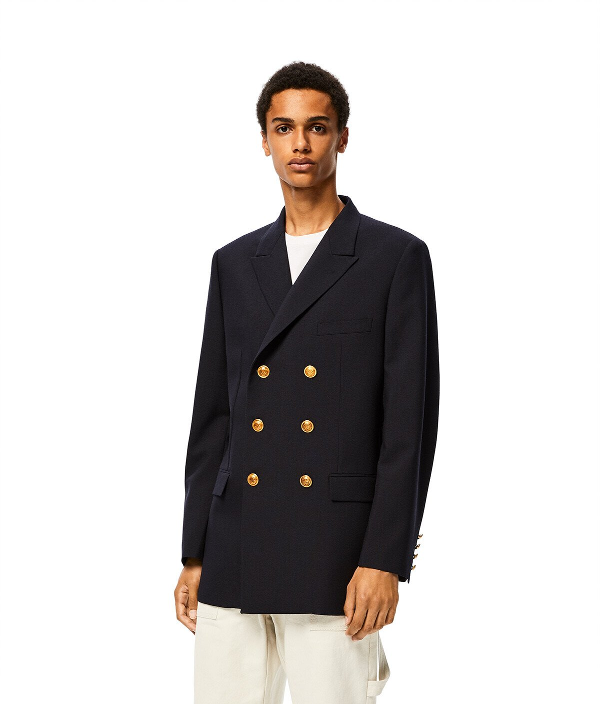 LOEWE Double Breasted Jacket Navy Blue front
