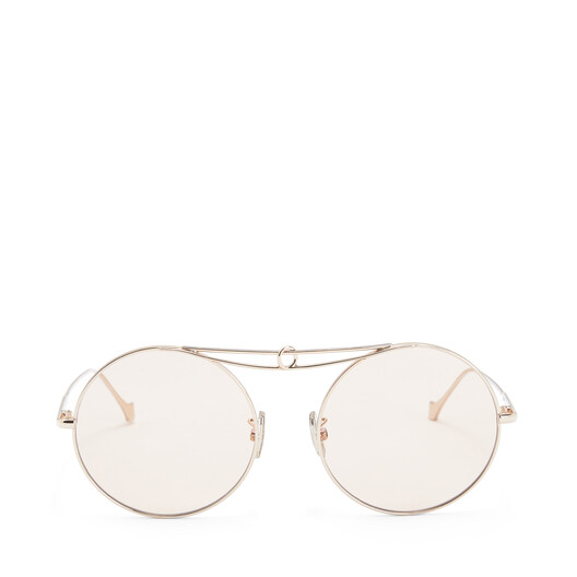 LOEWE Metal Knot Round Sunglasses Rose Gold/Light Pink front