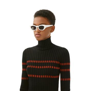 LOEWE Geometric Cateye Sunglasses White/Smoke front