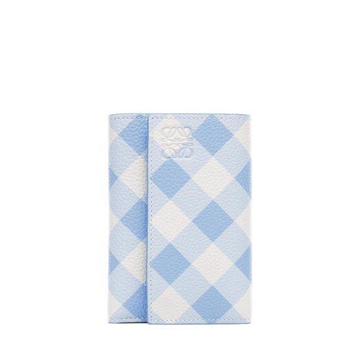 LOEWE Billetero Peq Vertical Gingham Azul Suave all
