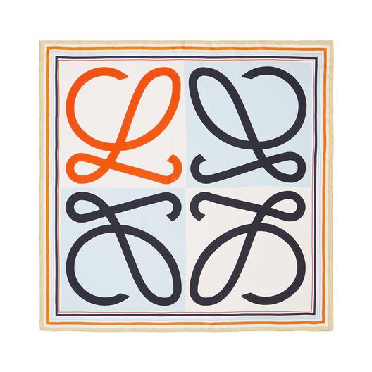 LOEWE 90X90 Scarf Frame Anagram Light Blue/Orange front