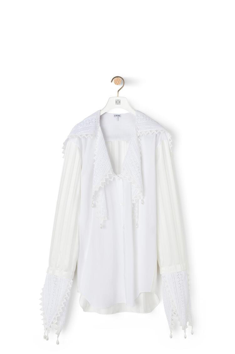 LOEWE 棉质蕾丝花瓣上衣 白色 pdp_rd