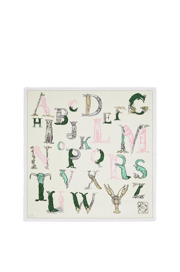 LOEWE 140 X 140 Cm Alphabet Scarf In Silk Light Yellow pdp_rd