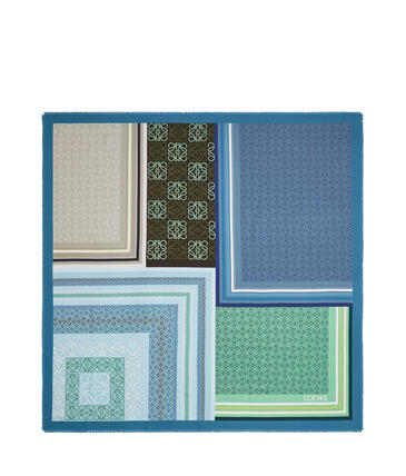 LOEWE 絲質圍巾(140x140公分) 藍色/綠色 pdp_rd