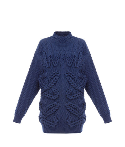 LOEWE Cable Knit Sweater Anagram Navy Blue front