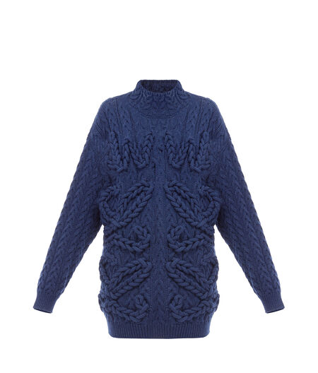 Cable Knit Sweater Anagram Navy Blue Loewe