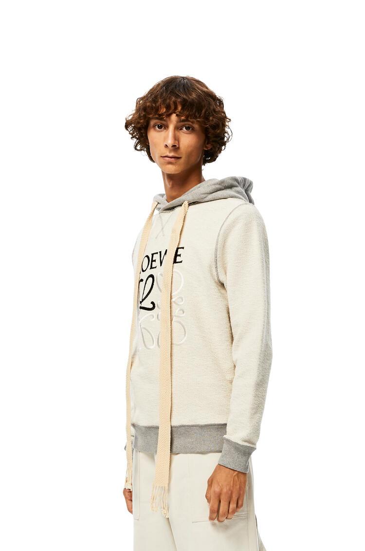 LOEWE Reversible anagram embroidered hoodie in cotton Grey Melange pdp_rd