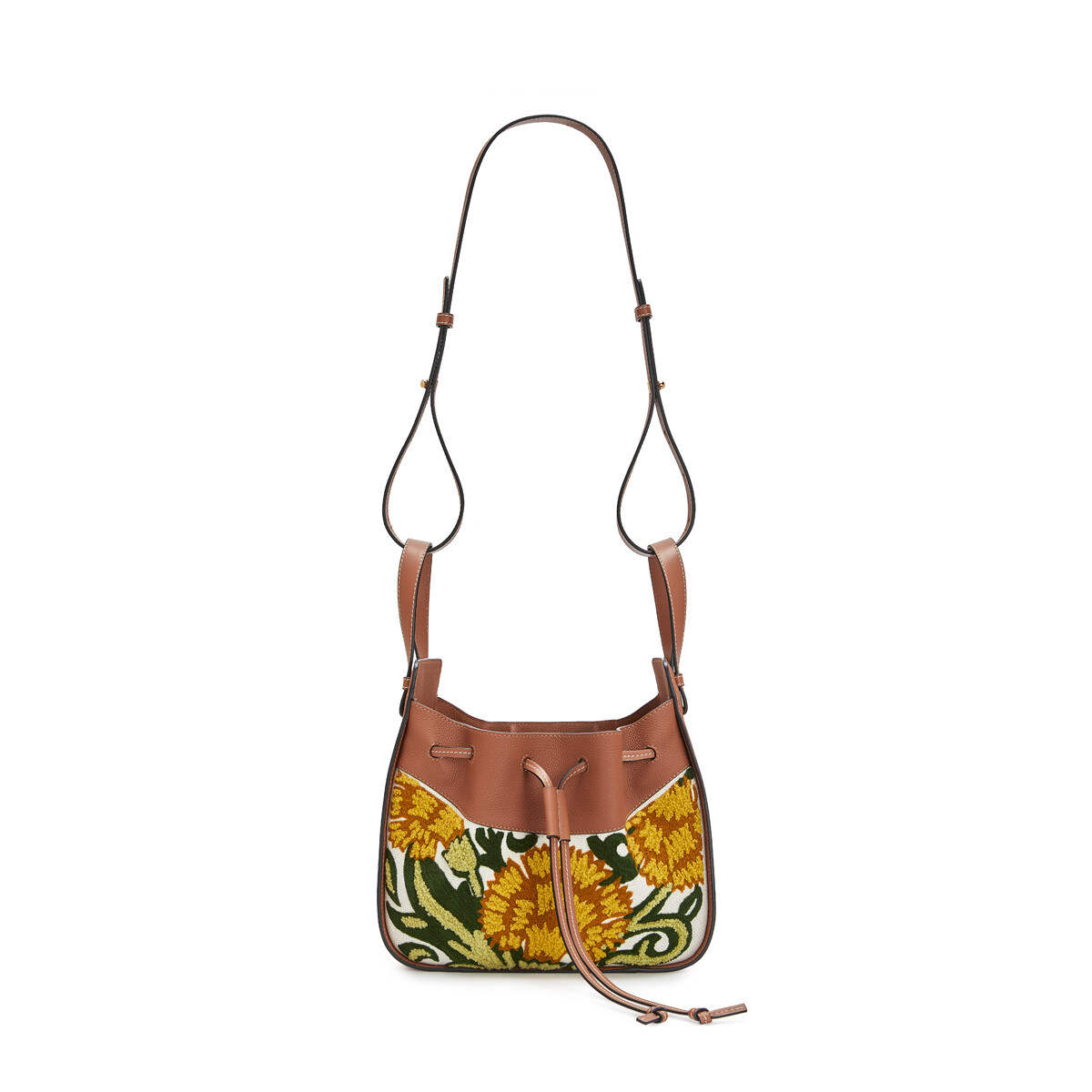 LOEWE Bolso Hammock Drawstring Floral Pequeño Amarillo front