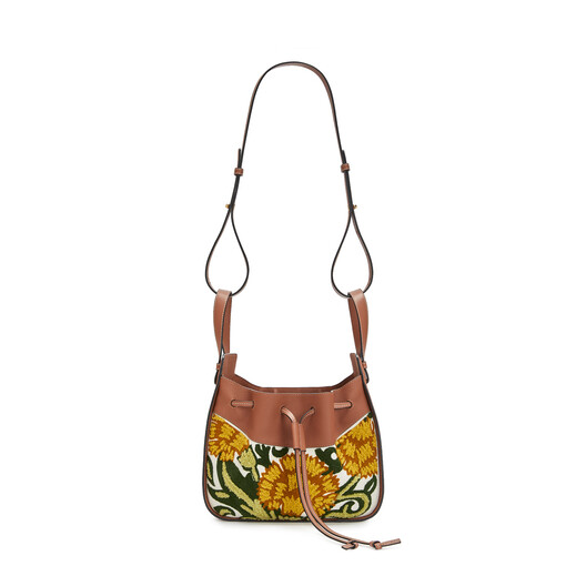 LOEWE Hammock Drawstring Floral Small Bag イエロー front