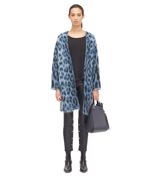 LOEWE Leopard Mohair Cardigan Azul/Multicolor all