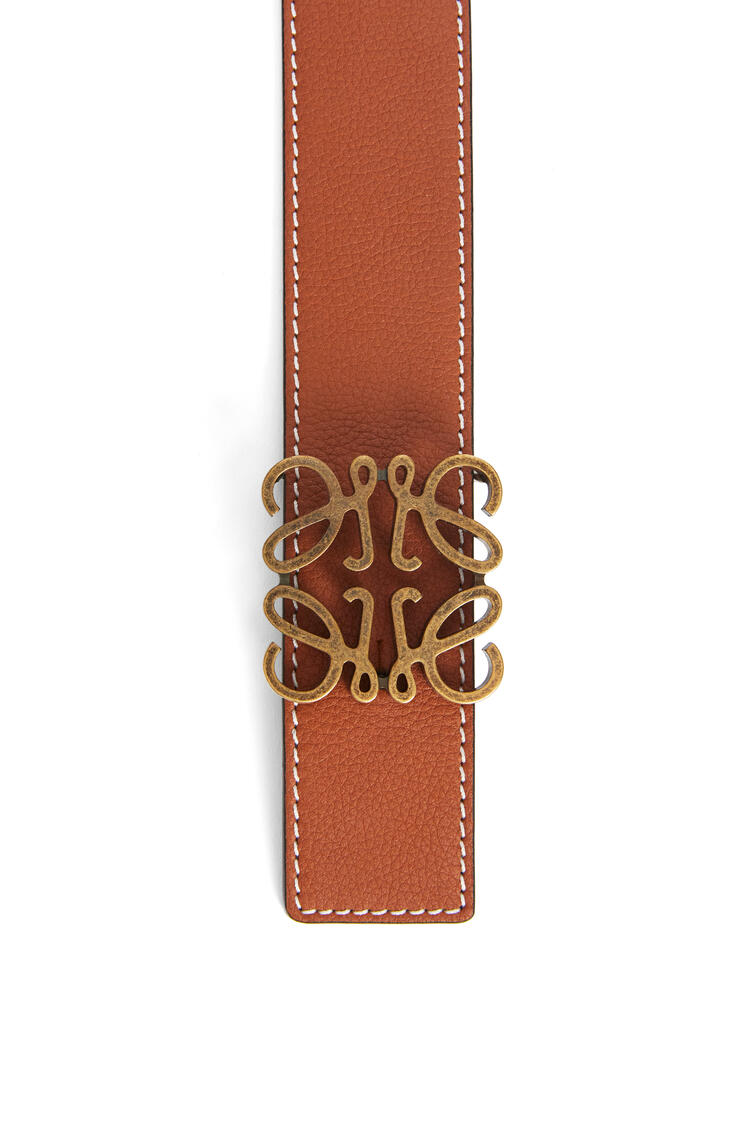 LOEWE Anagram belt in soft grained calfskin Tan/Black/Old Gold pdp_rd