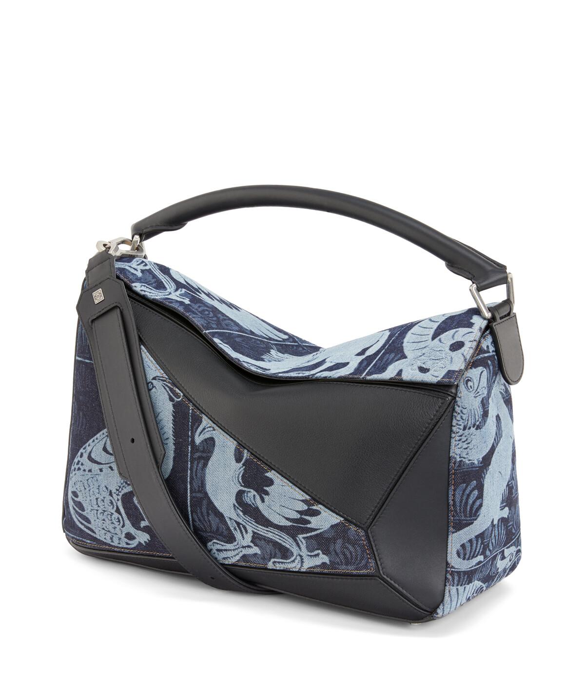 LOEWE Puzzle Tiles Large Bag Indigo/Black front