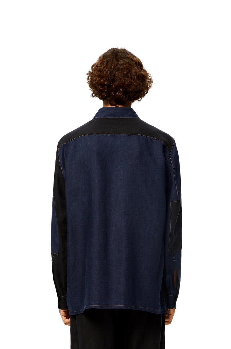 LOEWE Patch pocket shirt in linen Navy Blue/Black pdp_rd