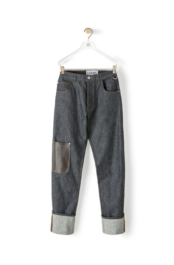LOEWE Leather Patch Pocket Jeans ブルーデニム front