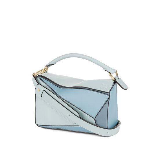 LOEWE Puzzle Small Bag アクア/ライトブルー/ストーンブルー front