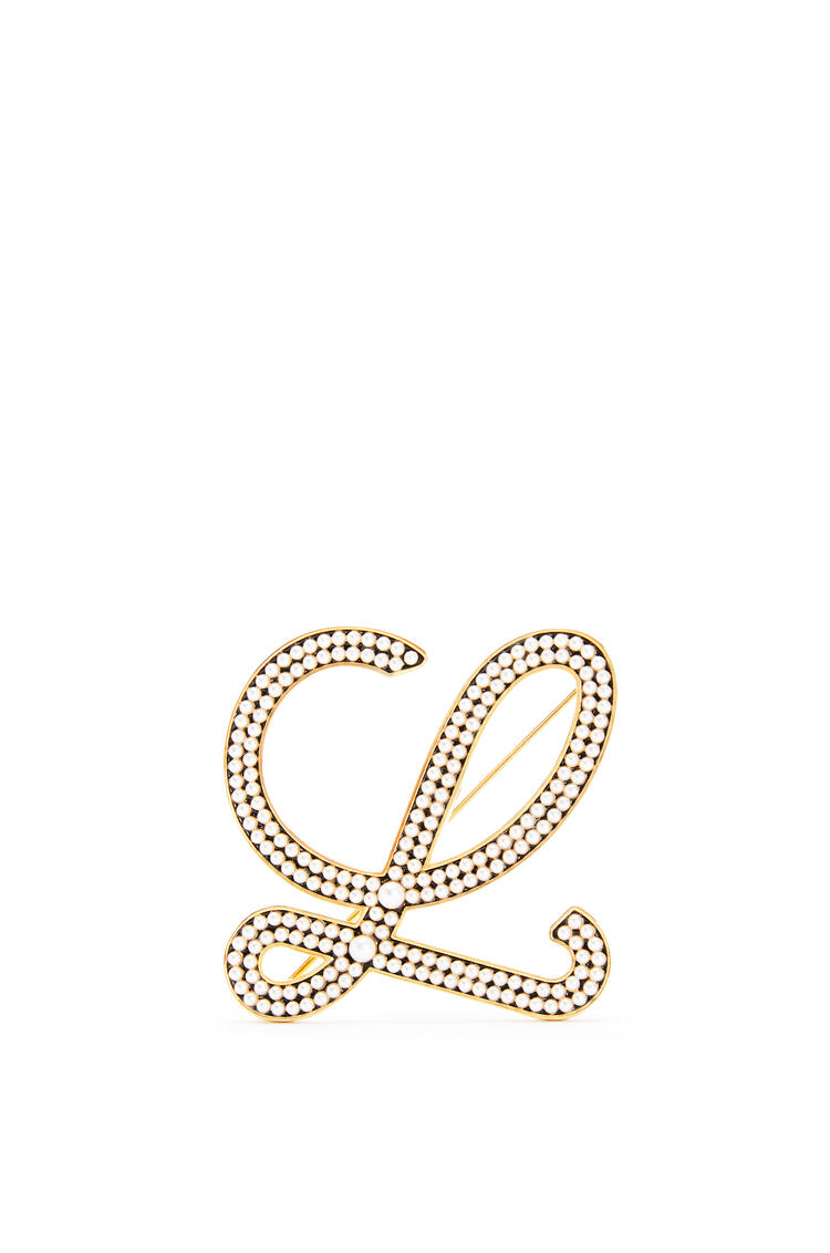 LOEWE Brooch in metal and pearls Gold/White pdp_rd