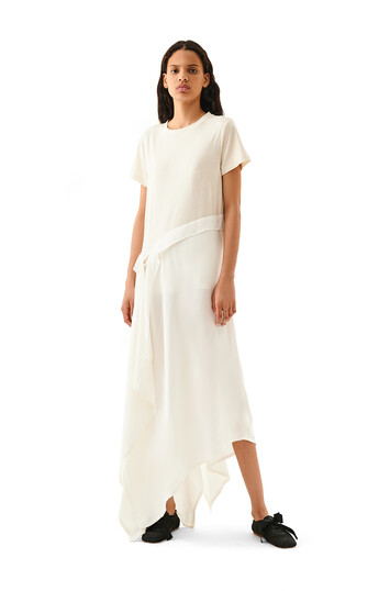 LOEWE Satin & Jersey T-Shirt Dress Blanco/Crudo front