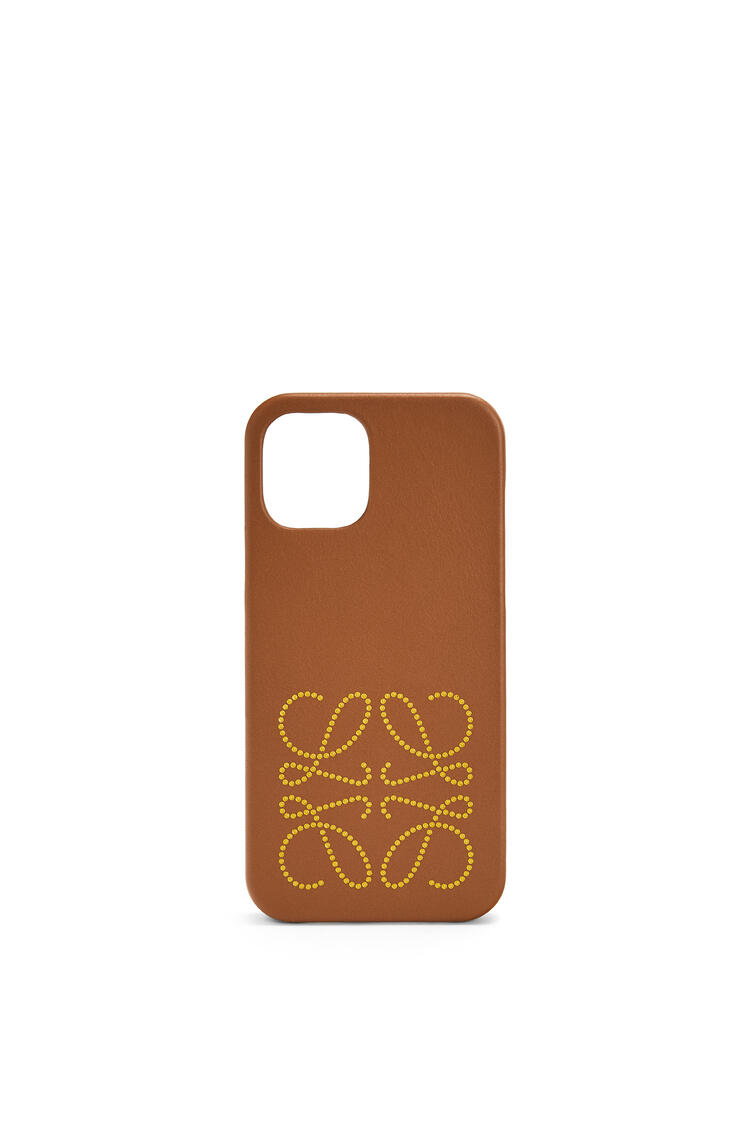 LOEWE Brand phone cover in calfskin for iPhone 12 Pro Tan pdp_rd