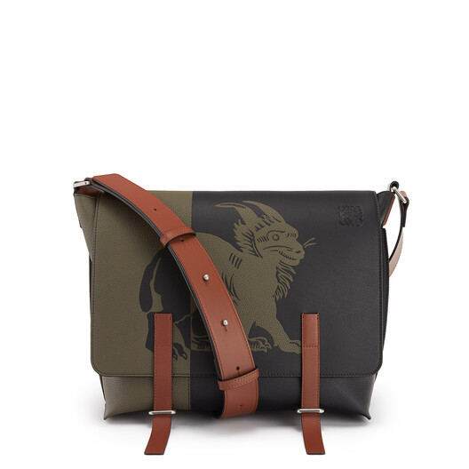 LOEWE Military Messenger Herald Bag Khaki Green/Black front