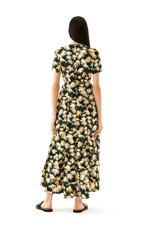 LOEWE Daisy Ruffle Gathered Dress Black/Yellow front