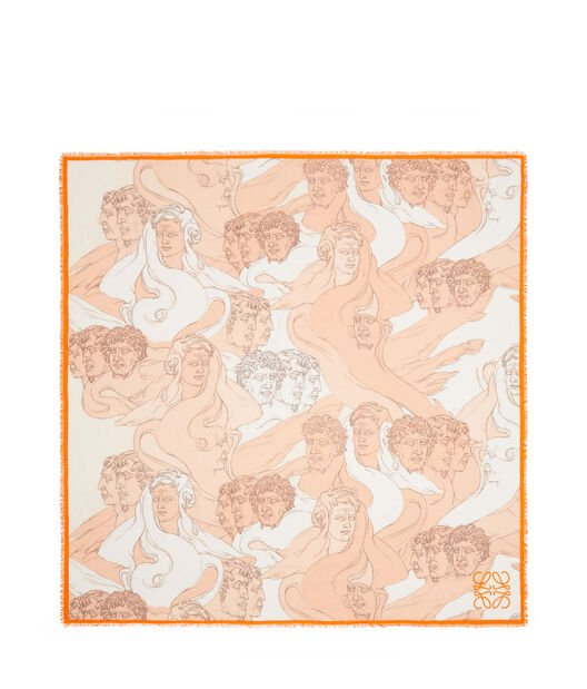 LOEWE 140X140 Scarf Faces Rosa Claro front