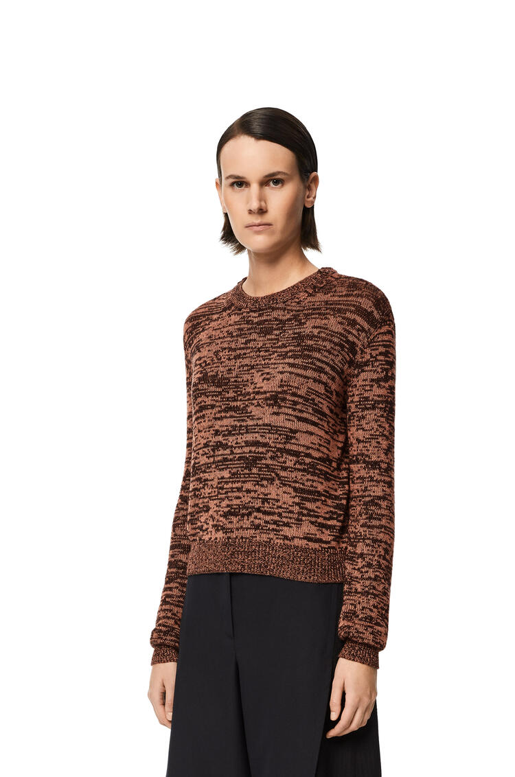 LOEWE Melange cropped sweater in cashmere Black/Nude pdp_rd
