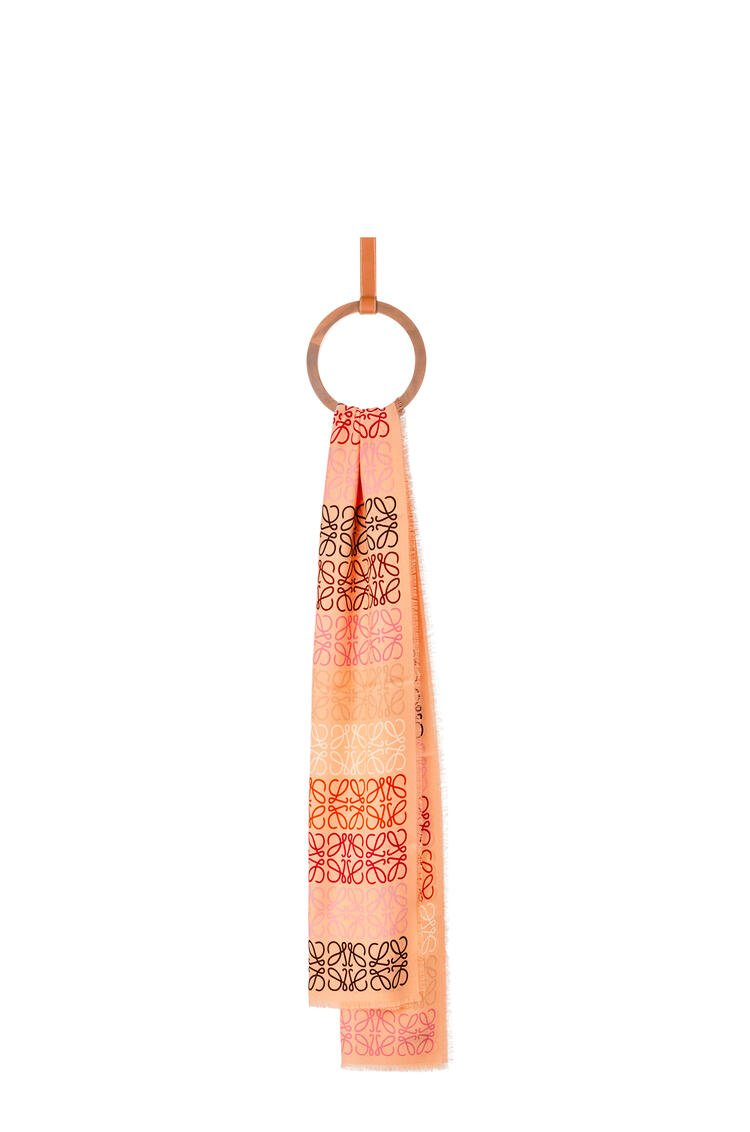LOEWE Anagram lines scarf in wool and cashmere Peach Pink pdp_rd