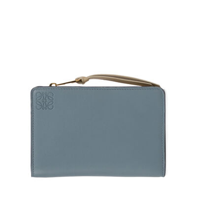 LOEWE Small Zip Wallet Stone Blue/Ivory front