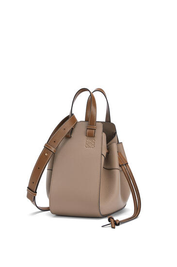 LOEWE Small Hammock Drawstring Bag In Soft Grained Calfskin Sand/Mink Color pdp_rd