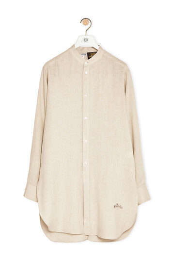 LOEWE Mao Collar Shirt In Linen And Cotton ベージュ front