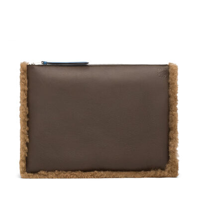 LOEWE Large Flat Pouch Khaki Green/Chocolate Brown front