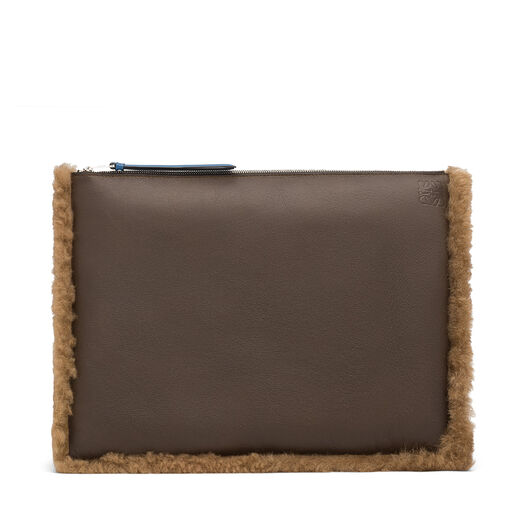 LOEWE Large Flat Pouch Khaki Green/Chocolate Brown all