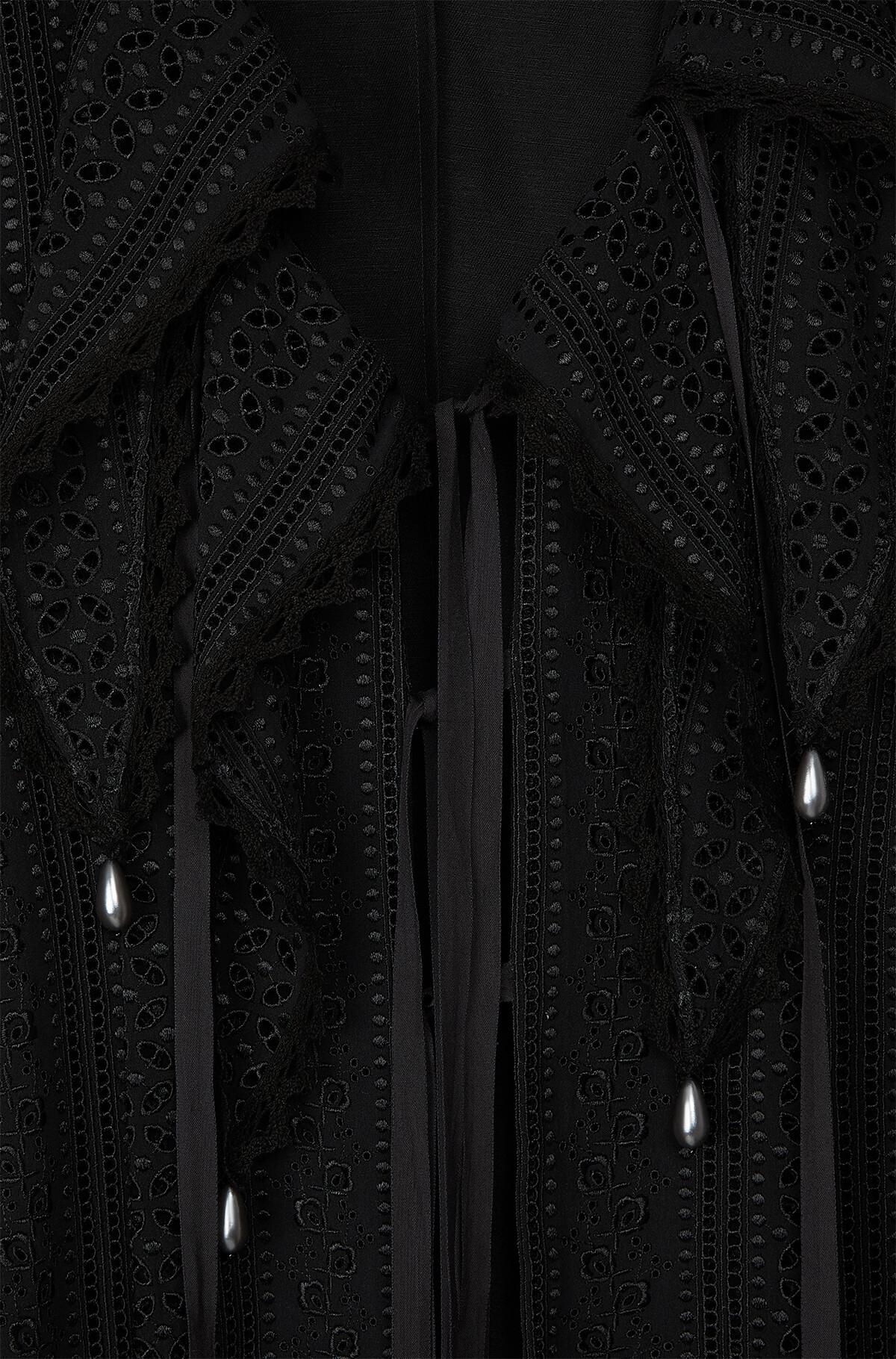 LOEWE Lace Petal Coat Pearls 黑色 front
