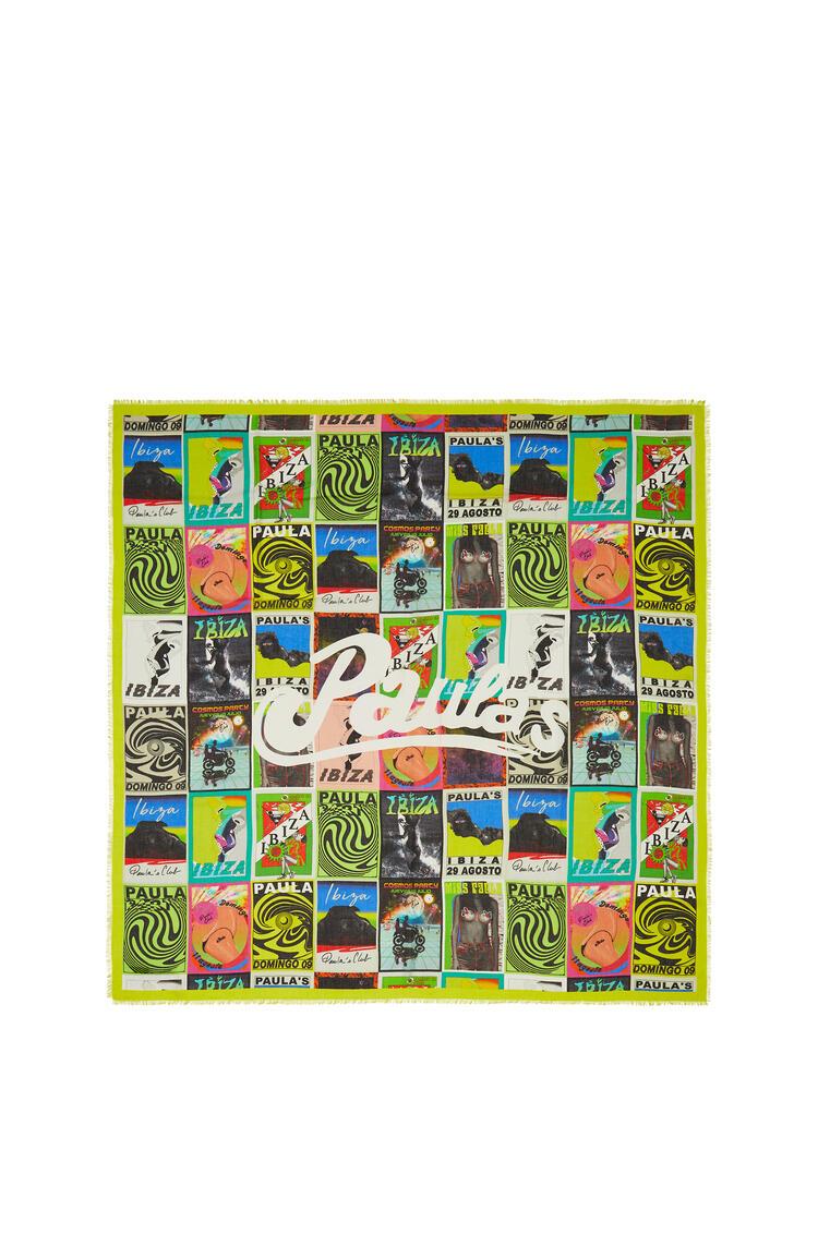LOEWE Bufanda de 140 x 140 cm en cachemira con print de flyers Multicolor pdp_rd