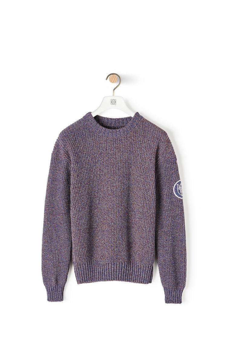LOEWE Melange crewneck sweater in cotton Navy Blue pdp_rd