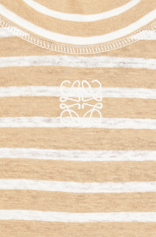 LOEWE Stripe High Neck Jersey Dress Beige front
