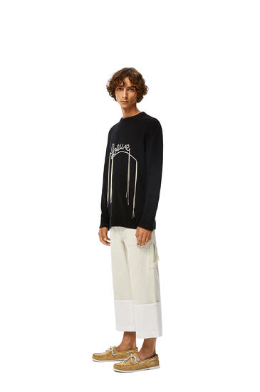 LOEWE LOEWE stitch sweater in cotton Black/Ecru pdp_rd