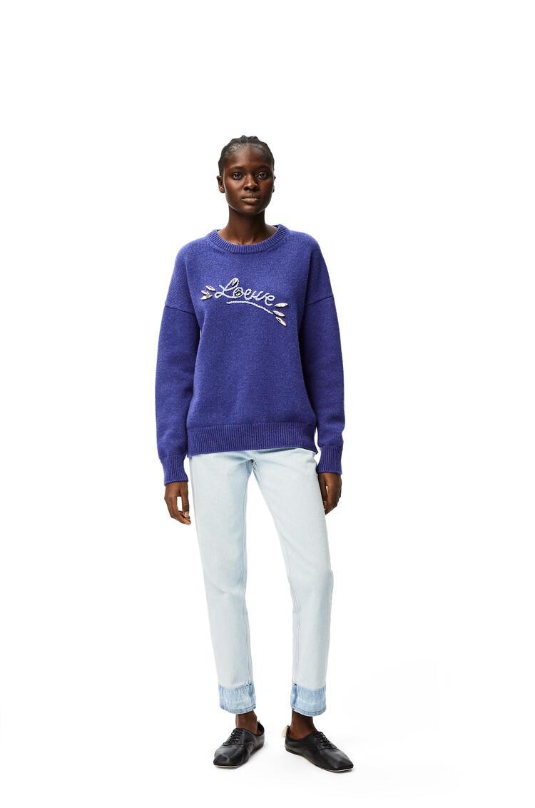 LOEWE Jersey en lana con motivo LOEWE Azul/Geranio pdp_rd