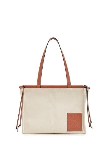 LOEWE Small Cushion Tote bag in canvas and calfskin Light Oat pdp_rd
