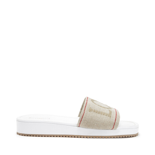 LOEWE Slider In Nappa And Linen Natural/White front