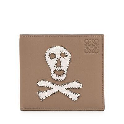 LOEWE Bifold Wallet Skull Dark Taupe/Tan/White front