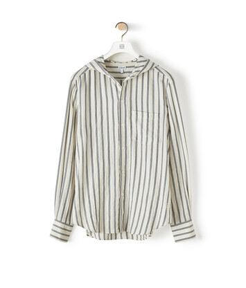 LOEWE Hooded Stripe Shirt White/Blue front