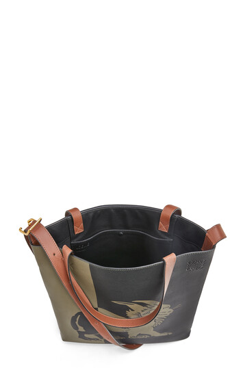 LOEWE Vertical Tote Herald Bag Khaki Green/Black front