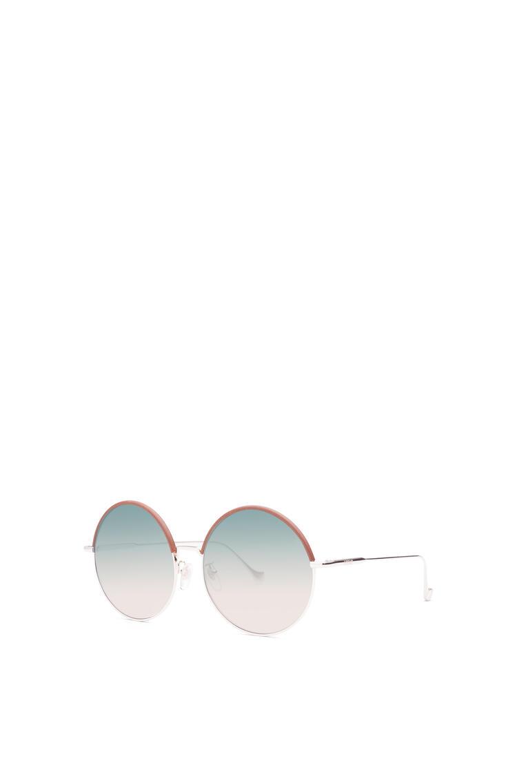 LOEWE Gafas de sol redondas en metal y piel Marron/Arena Degradado pdp_rd
