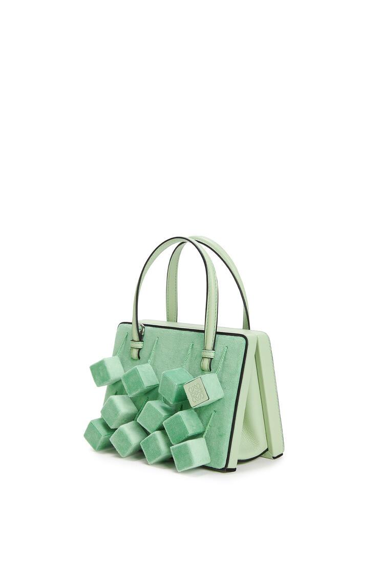 LOEWE Small Postal Cubes bag in velvet and calfskin Green pdp_rd